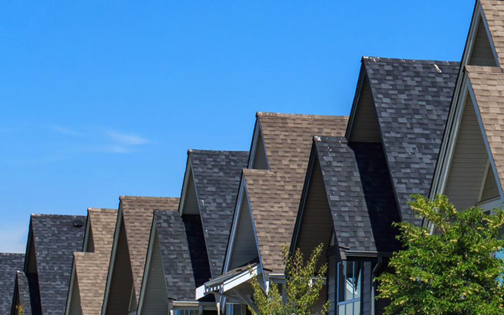 roofs in a line blue sky